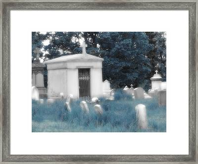 Gothic Blue Graveyard Framed Print by Gothicrow Images