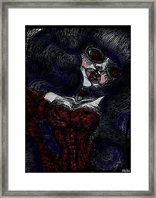 Gothic Corset Lady Framed Print by Akiko Okabe