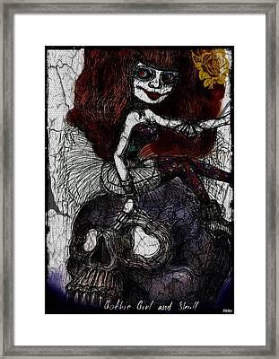 Gothic Girl And Skull Framed Print by Akiko Okabe