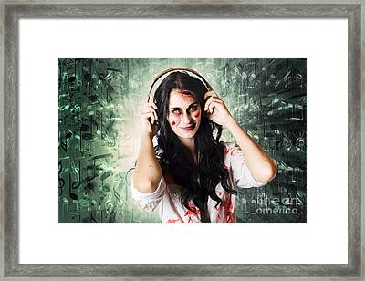 Gothic Rock Music Girl Wearing Headphones Framed Print by Jorgo Photography - Wall Art Gallery