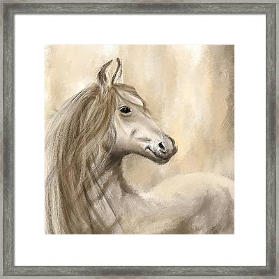 Gracious Wild- Cream And Brown Painting Framed Print by Lourry Legarde