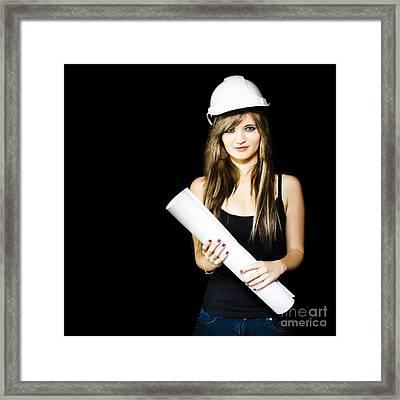 Graduate Engineer Holding Construction Design Plan Framed Print