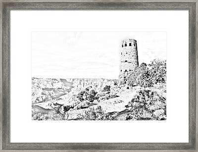 Grand Canyon National Park Mary Colter Designed Desert View Watchtower Black And White Line Art Framed Print by Shawn O'Brien