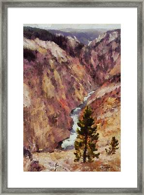 Framed Print featuring the painting Grand Canyon Of The Yellowstone by Kai Saarto