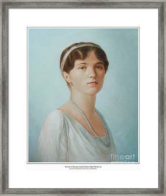 Grand Duchess Olga Nikolaevna Of Russia Framed Print by George Alexander