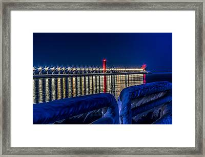 Grand Haven Lighthouse Blue Minute Framed Print by Joe Holley
