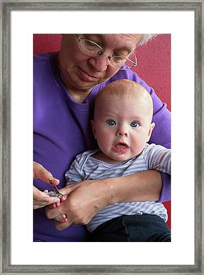 Grandmother Cuts Baby's Fingernails Framed Print by Jim West