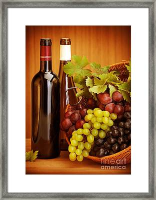 Grape Wine Still Life Framed Print by Anna Om