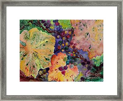 Framed Print featuring the painting Grapes And Leaves by Karen Fleschler