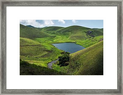 Grassy Hills And Lake Framed Print