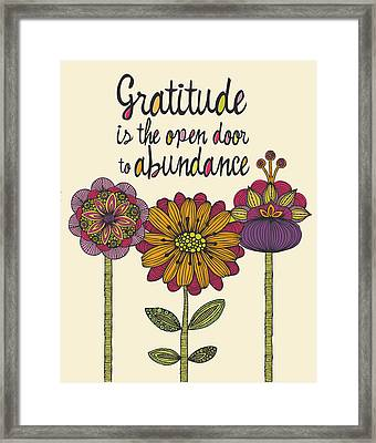 Gratitude Is The Open Door To Abundance Framed Print by Valentina Ramos