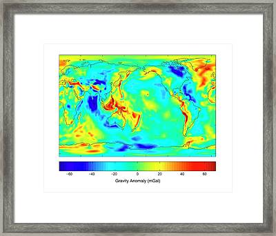 Gravity Map Of Earth Framed Print by Nasa/jpl/university Of Texas Center For Space Research
