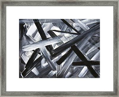 Framed Print featuring the painting Gray Matter Breaking Through The Darkness by Tracey Myers