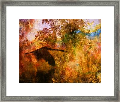 Framed Print featuring the digital art Great Blue Heron Abstract by J Larry Walker
