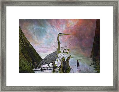 Framed Print featuring the digital art Great Blue Heron In A Heavenly Mist by J Larry Walker