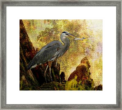 Great Blue Heron Morning Snack Framed Print