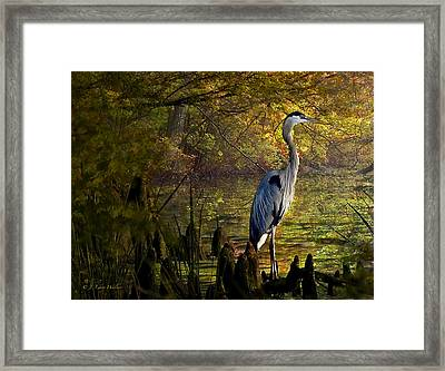 Framed Print featuring the digital art Great Blue Heron Wading by J Larry Walker