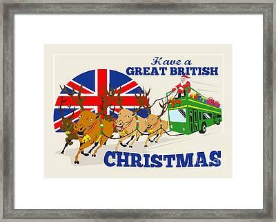 Great British Christmas Santa Reindeer Doube Decker Bus Framed Print by Aloysius Patrimonio