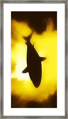 Ocean Framed Print featuring the digital art Great White  by Aaron Berg