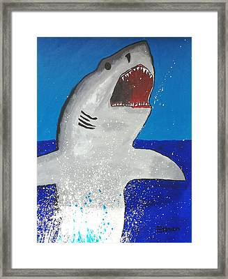 Giant Great White Framed Print by Ethan Chaupiz