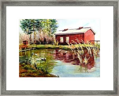 Green Acre Farm Framed Print by Betty M M   Wong