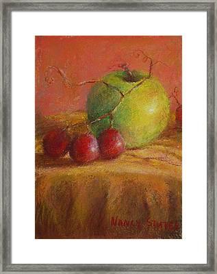 Green Apple Framed Print by Nancy Stutes