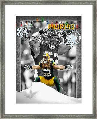 Green Bay Packers Christmas Card Framed Print