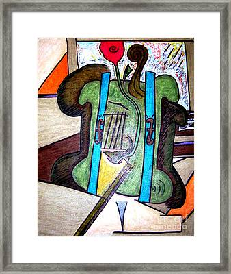Green Cello Plants In A Pot Framed Print by Lois Picasso