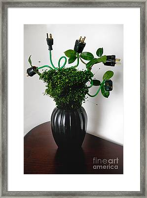 Green Energy Floral Arrangement Of Electrical Plugs Framed Print