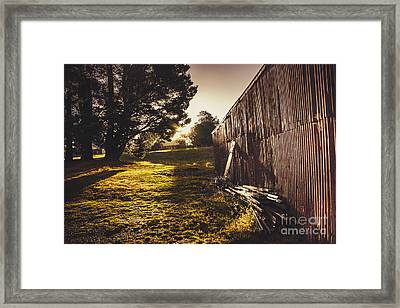 Green Farm Paddock Landscape. Outback Australia Framed Print by Jorgo Photography - Wall Art Gallery