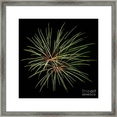 Green Fireworks Framed Print by Mandy Judson