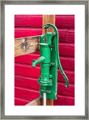 Green Manual Pump From Well Framed Print
