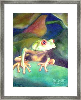 Framed Print featuring the painting Green Tree Frog - Original Sold by Therese Alcorn