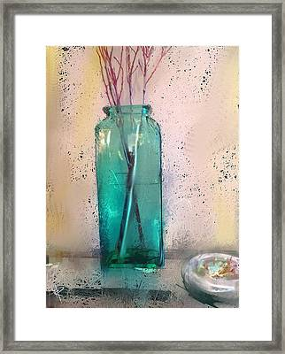 Green Vase Framed Print by Russell Pierce