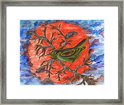 Framed Print featuring the painting Green Warbler by Teresa White