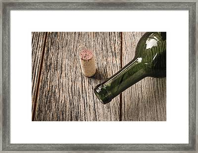 Green Wine Bottle And Cork With Red Wine Framed Print