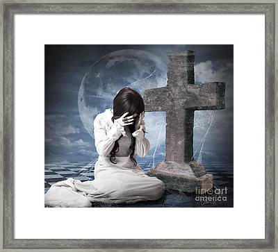 Grieving Gothic Girl Crying Next To Gravestone Framed Print by Jorgo Photography - Wall Art Gallery