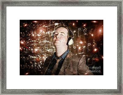 Groovy Retro Clubbing Guy At A Silent Trance Rave Framed Print by Jorgo Photography - Wall Art Gallery