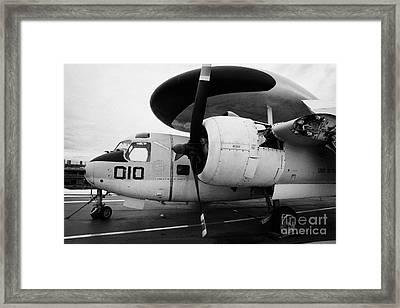 Grumman E1b E1 Tracer On Display On The Flight Deck Of The Uss Intrepid Framed Print