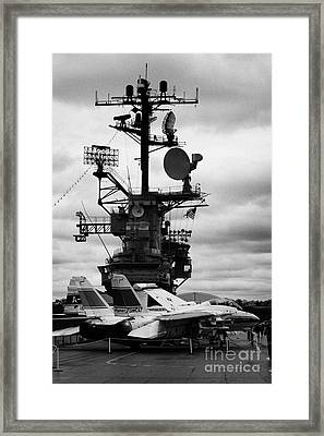 Grumman F14 In Front Of The Bridge On The Flight Deck Of The Uss Intrepid  Framed Print