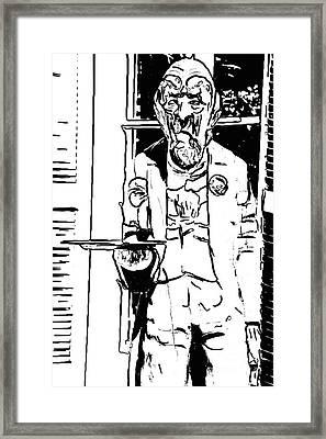 Grumpy Old Waiter Carving Key West - Digital Framed Print by Ian Monk
