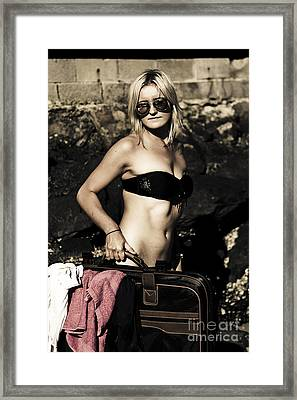 Grunge Babe On Holidays Framed Print