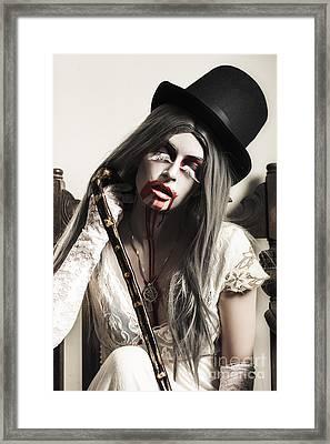 Grunge Ghost Girl With Blood Mouth. Dark Fine Art Framed Print
