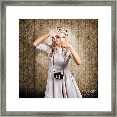 Grunge Girl With Retro Film Camera Concept Framing Framed Print by Jorgo Photography - Wall Art Gallery