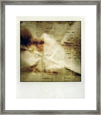 Grunge Newspaper Framed Print by Les Cunliffe