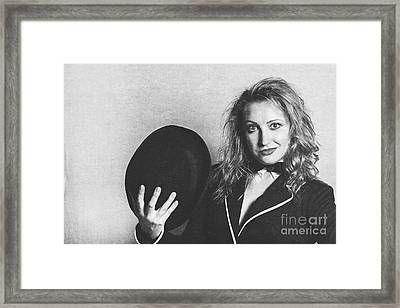 Grunge Photo Of Female Cabaret Performer Framed Print by Jorgo Photography - Wall Art Gallery