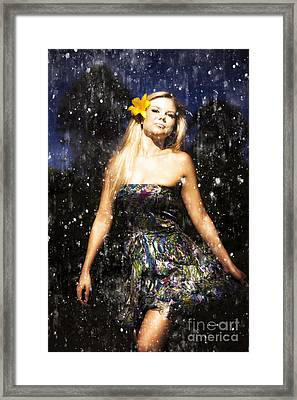 Grunge Portrait Of Sexy Woman In Rain Framed Print