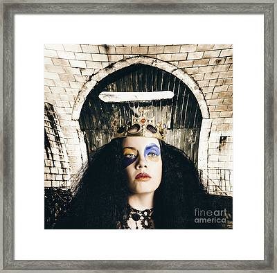 Grunge Queen Wearing Bright Colourful Makeup Framed Print