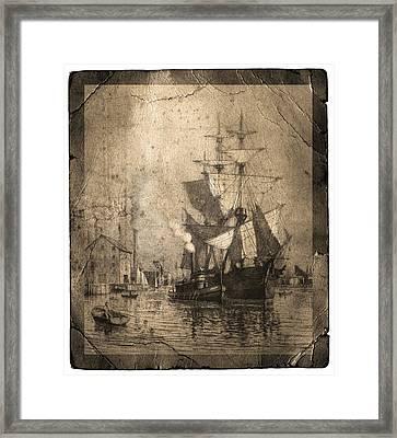 Grungy Historic Seaport Schooner Framed Print by John Stephens