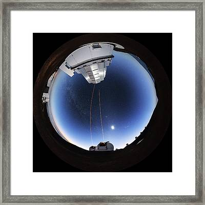 Guide Lasers Over Mauna Kea Observatories Framed Print by Babak Tafreshi